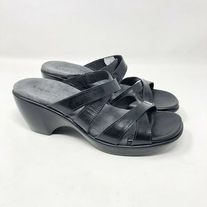 Naot Black Leather Wedge Sandal Strappy 41 L 10